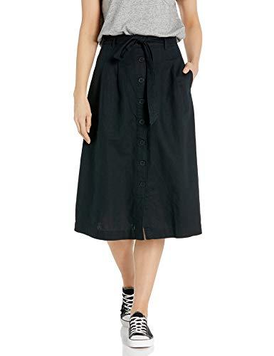 Amazon Brand - Goodthreads Women's Washed Linen Blend Midi Skirt, Black, 14