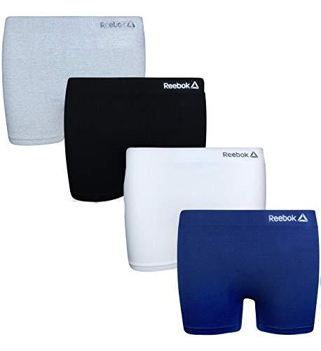 Reebok Girls Active Seamless Cartwheel Shorts (4 Pack), Grey/Navy/White/Black, Size Medium / 8-10