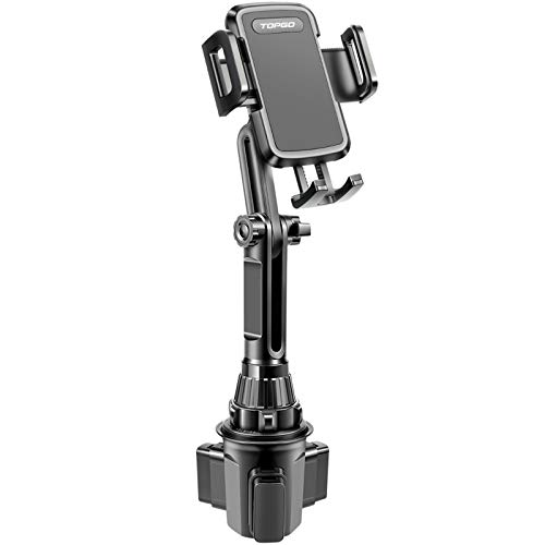 Car-Cup-Holder-Phone-Mount Adjustable Long Pole Automobile Cup Holder Smart Phone Cradle Car Mount for iPhone 11 Pro/XR/XS Max/X/8/7 Plus/6s/Samsung S10 /Note 9/S8 Plus/S7 Edge-Black