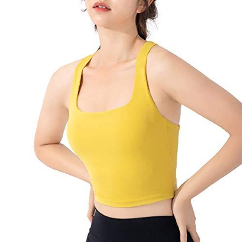 Cwang Camiseta de Mujer Sujetador Diario,Amarillo,S