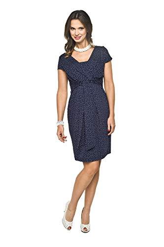 2in1 Elegantes und Bequemes Umstandskleid/Stillkleid, Modell: Blufi, Dunkelblau-Weiss