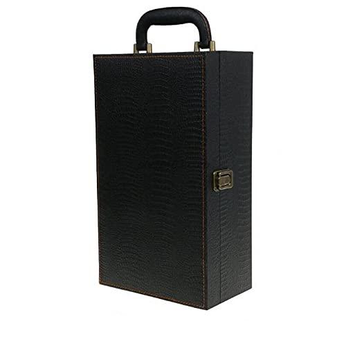 Caja de regalo de vino caja de botella de vino de cuero bolsa de lujo 2 vino tinto Champagne Tote Carrier Handle Travel Case Organizador regalo para cumpleaños y ocasión especial