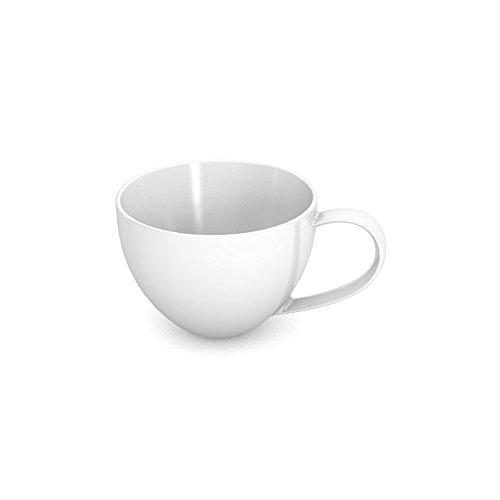 Ornamin Tasse Schicke Tasse aus Kunststoff in modernem, elegantem Design, Alltags-Geschirr Weiß, 170 ml
