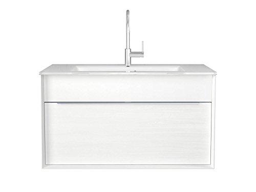 Badmöbel-Set Atessa italienisches Design - 110 cm breit - Holzdekor Weiß - Badezimmermöbel Waschtisch Hochschrank Spiegelschrank mit Beleuchtung Sieper Jokey