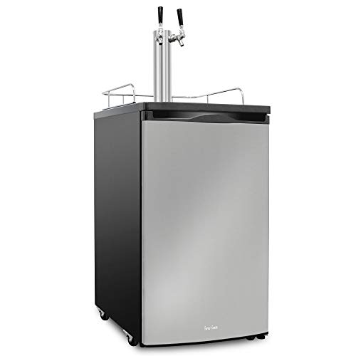 Ivation Full Size Kegerator | Dual Tap Draft Beer Dispenser & Universal Beverage Cooler | CO2 Cylinder, Temperature Control, Drip Tray & Rail, Fits 1/2, 1/4 Pony Keg, (2) 1/6 Kegs (Stainless Steel)