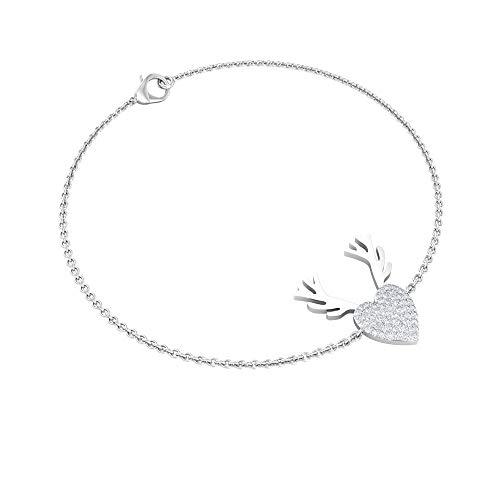 1/4 CT Diamond Heart Shaped Bracelet, Diamond Cluster Women Bracelet, Gold Engraved Charm Bracelet, Birthday Anniversary Bracelet, Adjustable Bracelet, 14K White Gold 6 Inches