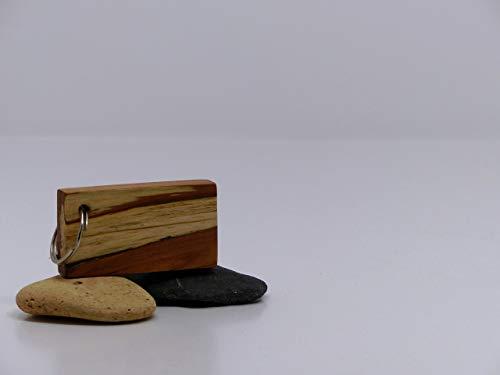 Woodenarts Schlüsselanhänger aus Holz handgemacht Apfel gestockt mit Schlüsselring aus Stahl/Länge ca. 6,5 cm/Breite ca. 3,5 cm/Stärke ca. 1 cm &Auto/Wohnung/Haustüre/Schlüssel