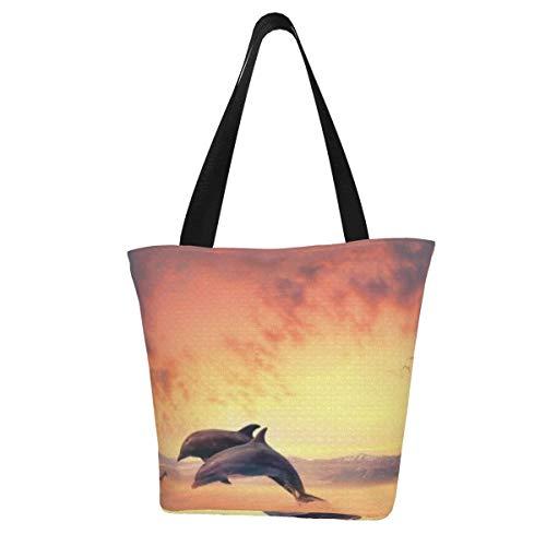 hfdff Video-Szene von Delfinen, die in das Meer springen Mode-Einkaufstasche für Frauen Mädchen Große Wiederverwendbare Tragetasche
