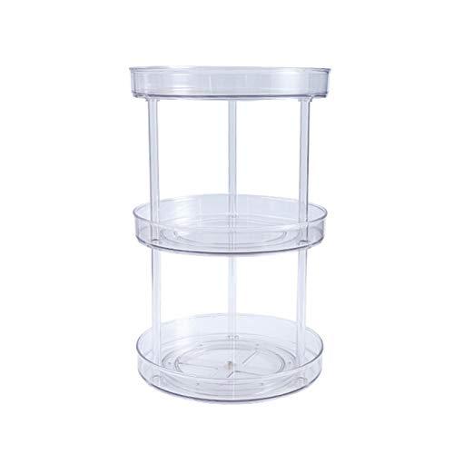 Plato giratorio Susan de 2 niveles - Estante de especias giratorio de 360 grados, organizador de especias de cocina giratorio en niveles para gabinetes, despensa, baño, refrigerador, encimera