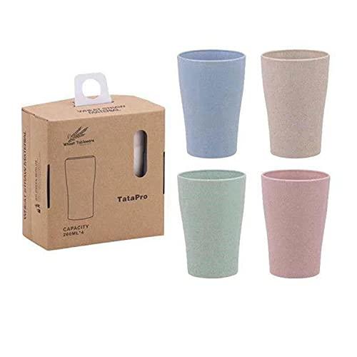 4 Piezas Taza de Paja de Trigo Reutilizable irrompible,taza para cepillo de dientes,taza para hacer gárgaras o tazas para bebidas,Taza de plástico,usar con agua, café, leche, zumo, etc.