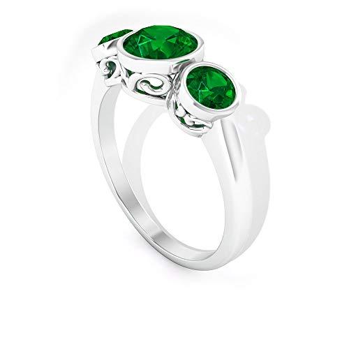 Anillo solitario de esmeralda difusa de 6 mm, anillo de compromiso de 3 piedras, bisel de oro (calidad AAAA), 14K White Gold, Emerald Diffused, Size:US 66