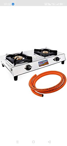 Surya Shining Flame Stainless Steel Cooktop Gas Stove with 1.5 M Suraksha LPG Rubber Hose Pipe (Steel Wire Reinforced) ISI...