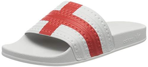 adidas Adilette, Sandalias deslizantes. Unisex Adulto, Cloud White Red Cloud White, 42 EU