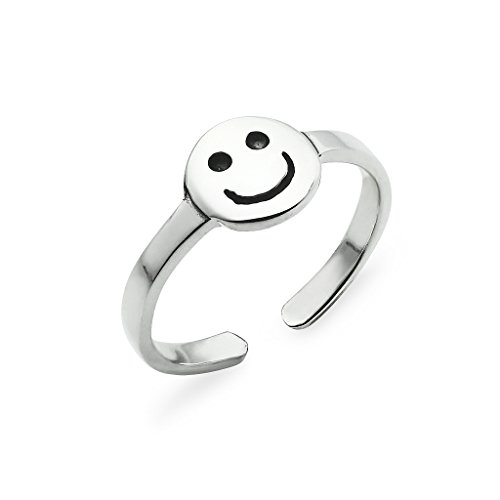 Smiley Face Cute Polished Sterling Silver Toe Ring Band Women