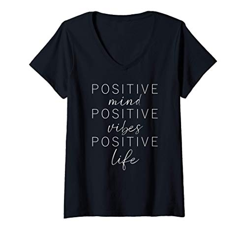 Womens Inspiring Quote POSITIVE MIND VIBES LIFE Good Happy Message V-Neck T-Shirt