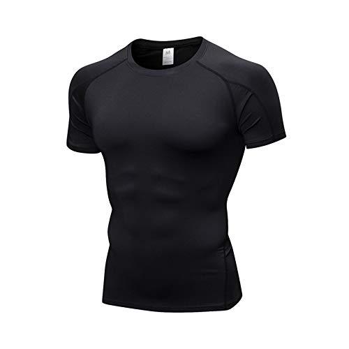 WZPG Camisa de compresión, Camiseta de Gimnasio de Fitness de los Hombres, Camiseta de Correr Deportivo, Transpirable para Hombres y Tapa de Manga Corta de Secado rápido,A,XL