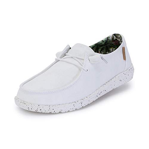 Hey Dude Wendy - Zapatos casuales para mujer, estilo mocasín, comodidad ligera, plantilla ergonómica de espuma viscoelástica, diseñada en Italia y California, color Blanco, talla 41 EU