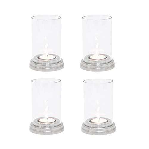 4 Stück Windlicht Giada in silber von Varia Living | Gesamt mit Sockel Höhe 12 cm, Durchmesser 8,5 cm | Teelichthalter mit abnehmbaren Glas | Kerzenständer für klassisches Teelicht | die kleine Laterne kann innen als auch im Garten verwendet werden