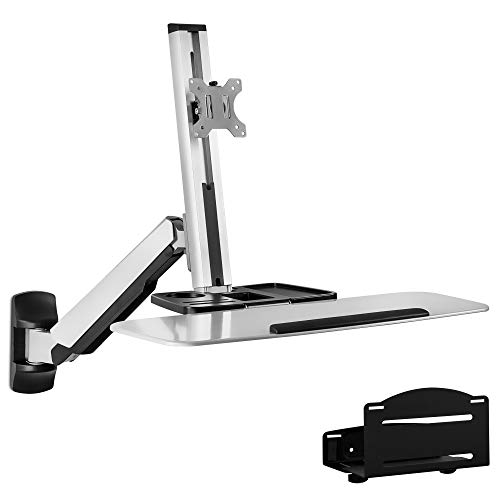 Mount-It! Sit Stand Wall Mount Workstation   Adjustable Height Stand Up Computer Station With Articulating Monitor Mount, Keyboard Tray, & CPU Holder   VESA Mount 75x75 and 100x100   MI-7905