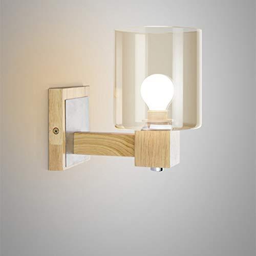 FACAIA Moderno Creativo Simple Madera Ámbar Decoración de Vidrio Luz de Pared Luz de Noche Interior Dormitorio Lámpara de Pared de Noche Pasillo Pasillo Balcón Aplique de Pared E27