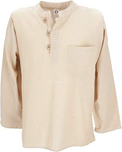 GURU SHOP Nepal Fischerhemd, Goa Hippie Hemd, Yogahemd, Freizeithemd, Herren, Beige, Baumwolle, Size:M, Hemden Alternative Bekleidung