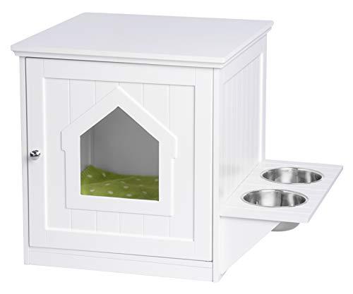 UPP Haustierschrank mit Futterstation I Katzenklo aufbewahren I Hundehütte Indoor, Katzenhöhle & Schrank kombiniert mit Futterstation und 2 Edelstahl Futternäpfen I Massiv gefertigt FSC Holz