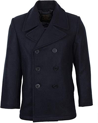 Mil-Tec Herren Jacke Us Navy Pea Coat Tuch, Dunkelblau, L, 10581000-904