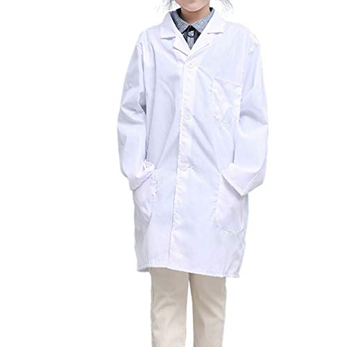 CLanItris America Kids Unisex Lab Coat for Scientist Role Play Costume Set - Soft Touch (Small,White)
