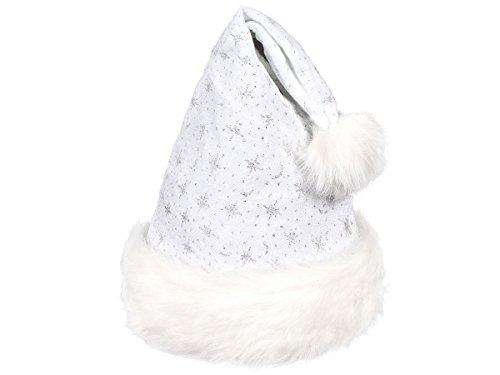 Alsino Weihnachtsmütze Nikolausmütze Plüsch (wm-05) weiß mit Pelzrand, Bommel & Glitzer Effekt