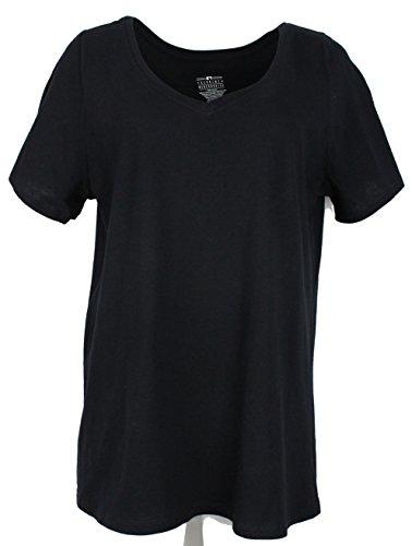 Genuine Merchandise GM Damen Curvy Plus Size 100% Baumwolle V-Ausschnitt T-Shirt Kurzarm - Schwarz - 56/58 DE