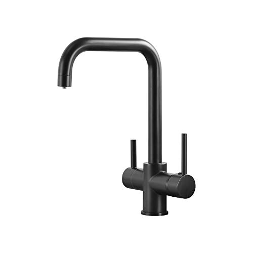 Casavilla 3 Wege Wasserhahn Küche Schwarz,360° Drehbar Küchenarmatur,Einhebel Mischbatterie aus Edelstahl, 3 in 1 Wasserhahn für Wasserfilter, Trinkwasserhahn mit Doppelhebel (Schwarz)