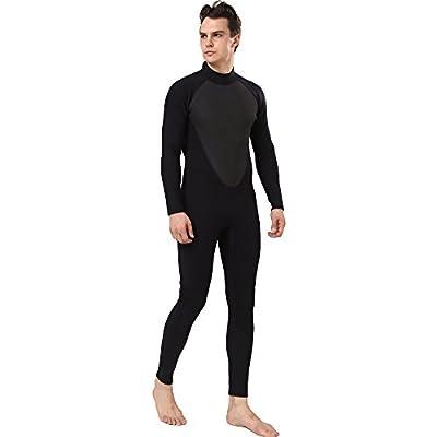 REALON Diving Suit Men 4/5mm Full Surfing Wetsuit Hoodie Snorkeling Jumpsuit (4/5mm Non-Hoodie Black, 2X-Large)