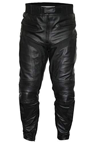 German Wear, Herren Motorradhose Motorrad Biker Lederhose Schwarz, Größe:60