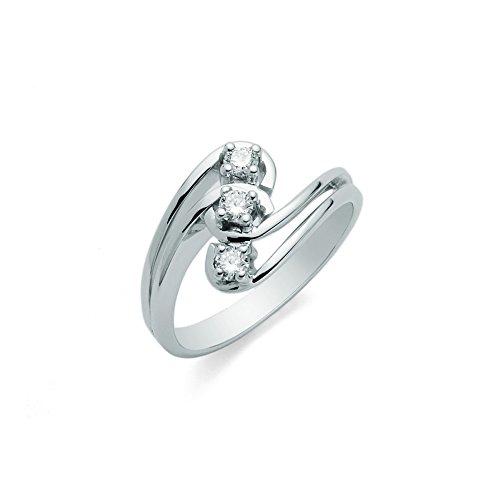 Anello Trilogy Miluna con Diamanti Naturali 0.18ct in oro bianco 18kt LID1629-D18