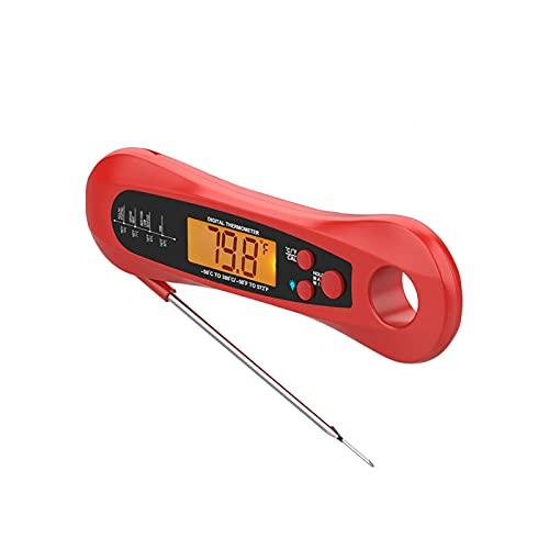 Cozy69 Termómetro de carne de lectura instantánea, termómetro digital de comida rápida y precisa con luz de fondo, imán, calibración y sonda plegable para freír, barbacoa,