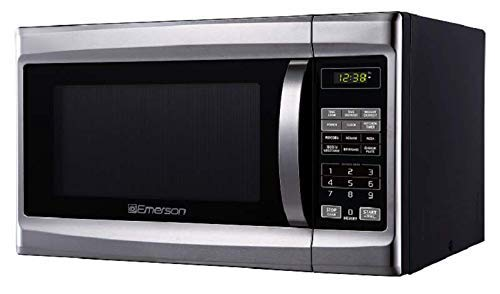 Emerson 1.3 CU. FT. 1000 Watt, Touch Control, Stainless Steel Front, Black Cabinet Microwave Oven, MW1338SB (Renewed)