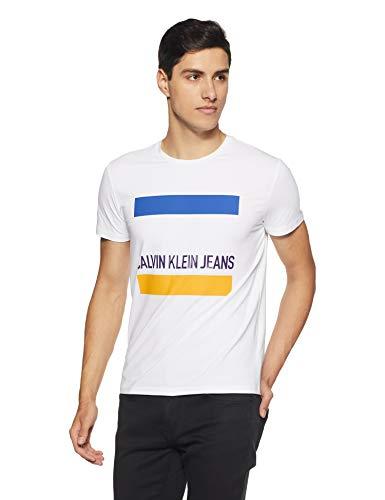 Calvin Klein Jeans Men's Solid Slim Fit T-Shirt (4AFKSQ4112_Bright White_X-Large)