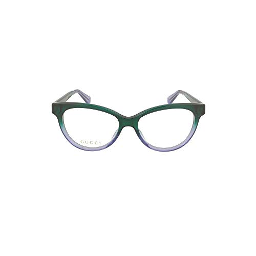 Gucci Gucci Logo GG 0373O 004 Green Plastic Cat Eye Eyeglasses 52mm