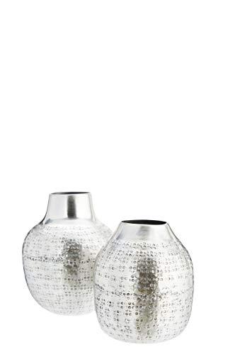 Madam Stoltz - Vaso in Argento Metallizzato, Diametro 8 x Altezza 9 x Altezza 12 cm