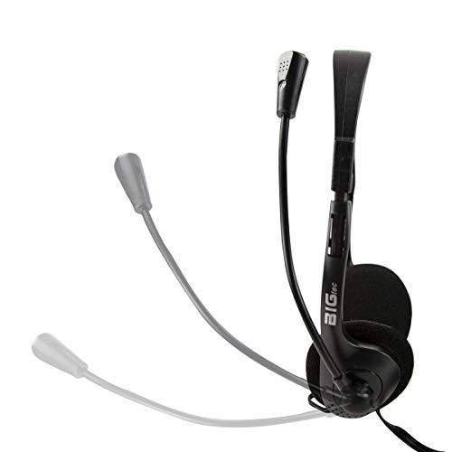 BIGtec Headset PC mit Mikrofon Stereo kabelgebunden, leicht, verstellbar, Flexibler Mikro Arm, Lautstärkeregler, 1,8m Kabel, Klinke 3,5mm Anschluß Computer Notebook Laptop Gaming Büro Home Office