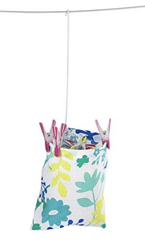 WENKO 3710800100 Wäscheklammer-Beutel - Blumenmuster, Baumwolle, 20 x 20 x 3.5 cm, Mehrfarbig