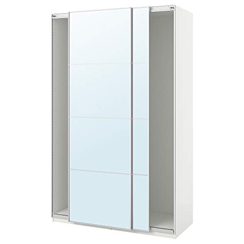 PAX garderob med skjutdörrar 150 x 66 x 94 tum vit/Auli spegelglas