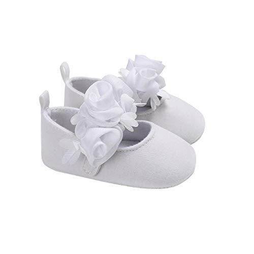 DEBAIJIA Baby Mädchen Prinzessin Schuhe Kleinkind Schöne Frühling Blume Weiche Sohle rutschfeste Baumwolle Geeignet für 6-18 Monate Klettverschluss Weiß 18 EU (Etikettengröße 2)