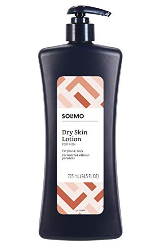 Amazon Brand - Solimo Men's Dry Skin Lotion for Face and Body, 24.5 Fluid Ounce (Pack of 4)