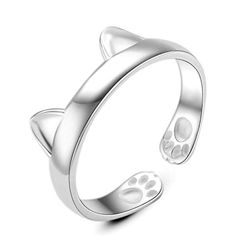 QIANDI Animal Rings Jewelry 925 Sterling Silver Beautiful Unique Cat Ear Ring Party Women