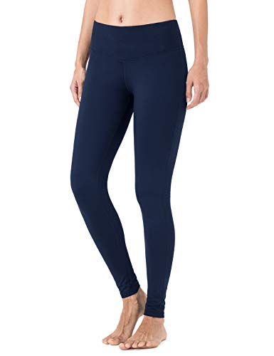 NAVISKIN Pantalones Yoga Forro Polar Mujer Pilates Mallas Deportivas Leggings Largos Bolsillo Elástico Transpirable Training Running Fitness Azul L
