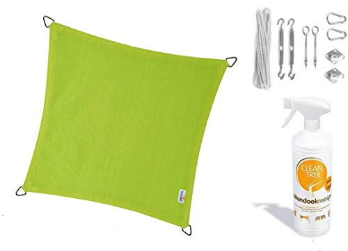 Nesling Compleet Pakket Coolfit Sonnensegel, wasserfest, dreieckig, 3,6 x 3,6 cm, Marraina, Limettengrün, mit RVS Bevestigingsset aus Buitendoekreiniger