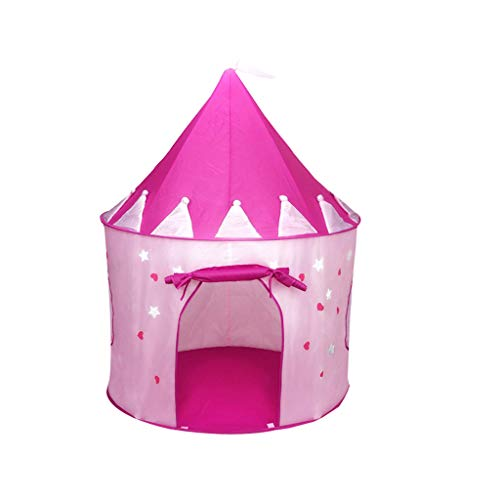 jieGorge Kids Castle Play Tent with Glow in The Dark Stars Conveniently Foldable House, Kitchen,Dining & Bar for Christmas Day (Pink)