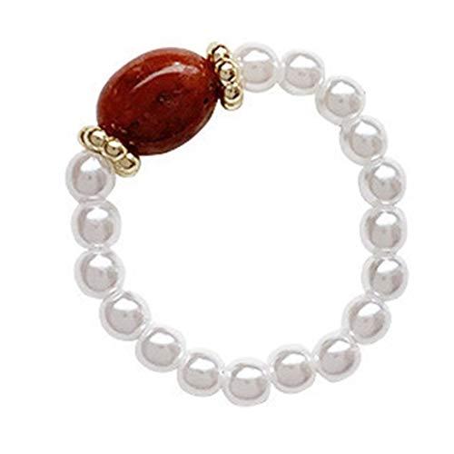 Temperament Einfacher Retro Perlenring Handgefertigter Synthetikstein Zeigefinger Ring Süßer hypoallergener Ring