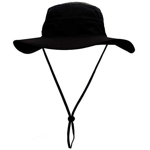 Chapeau de Pêche,Chapeau de Solei Chapeau de Plage Chapeau de Soleil à Larges Bords Chapeau de Filet d'escalade Extérieur Pliable (Noir)